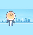 businessman holding clock in front face vector image vector image