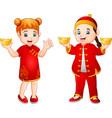 cartoon chinese kids holding gold ingots vector image vector image