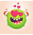 cartoon green cool monster in love vector image vector image