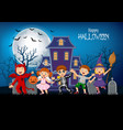 cartoon happy kids with halloween background vector image vector image