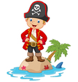 Cartoon little boy up on the island vector image vector image