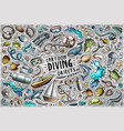 cartoon set diving theme items objects vector image