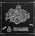 chalkboard sketch road in cityscape isometric vector image vector image