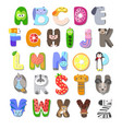 children alphabet animal fruit vector image