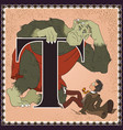 children book cartoon fairytale alphabet letter t vector image
