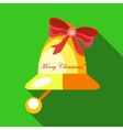 Christmas bell icon flat style vector image vector image