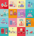 colorful Interior Icons Set in flat style vector image
