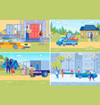commercial transportation or house moving service vector image vector image