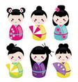 cute kawaii kokeshi set traditional japanese vector image vector image