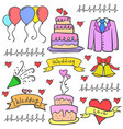 doodle of wedding object art vector image vector image