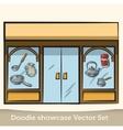 Doodle showcase dishes set vector image