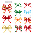 Elegant ribbon tied bows for gift greeting card vector image vector image