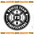 firefighters rescue team round emblem vector image vector image