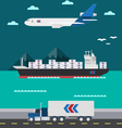 Flat design of cargo transportation sea air land vector image vector image