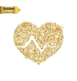 Gold glitter icon of cardiogram isolated on vector image vector image