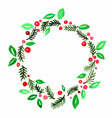 green leaves and red berries wreath frame vector image