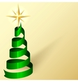 Greeting Card With Ribbon Christmas Tree and Star vector image vector image
