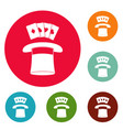 hat with card icons circle set vector image