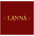 lanna text red background image vector image