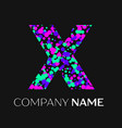 letter x logo with pink purple green particles vector image vector image