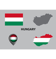Map of Hungary and symbol vector image vector image