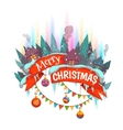 Merry Christmas banner withhouses and Northern vector image vector image