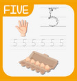 number five tracing worksheets vector image vector image