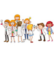 Scientists in different positions vector image vector image
