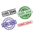 scratched textured euro zone stamp seals vector image vector image