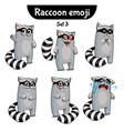 set of cute raccoon characters set 4 vector image vector image