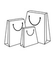 shopping bags isolated in black and white vector image vector image