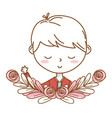 stylish boy cartoon outfit portrait floral wreath vector image vector image