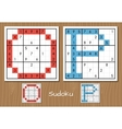 Sudoku set with answers O P letters vector image vector image