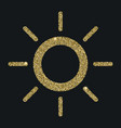 sun icon with glitter effect isolated on black vector image vector image