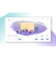 team work landing page banner with business people vector image