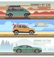 Trailering by car banners set vector image