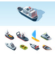 transport sea isometric set cargo tanker with vector image