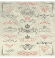 Vintage Hand Drawn Swirls and Crowns on Crumpled vector image vector image