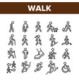 Walk people motion collection icons set