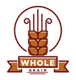 whole grain product emblem with small wheat ear vector image vector image