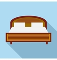 Wood double bed icon in flat style vector image vector image