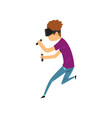 young man cartoon character in virtual reality vector image vector image