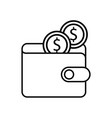 online ecommerce wallet with dollar coins money vector image