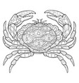 adult coloring bookpage a cute crab image for vector image