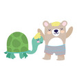 baby shower cute bear with short pants and turtle vector image vector image