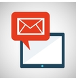 blue cartoon tablet message email bubble speech vector image