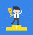 businessman holding gold award cup be a vector image