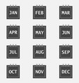 calendar month set icon on grey color layers vector image vector image