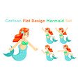 cartoon cute mermaid girls set flat design vector image
