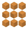 Cartoon Isometric wood game brick cubes set vector image vector image